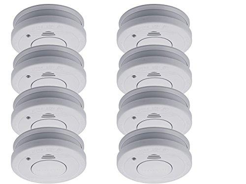 8er-SET Rauchmelder mit Batteriewarnung & Testtaste - Zulassung nach EN14604