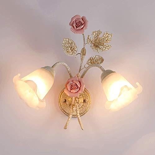 E27 Rustikale Wandleuchte Florentiner, Retro Wandlampe Metall Rosa Keramik Antik Weiss Glasschirm, Landhaus Nachttischlampe Deko Für Flur Wohnzimmer Schlafzimmer Korridor, 2-Flammig, Inkl. Glühbirne