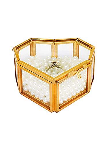 Gold Glass Jewelry Box Small, Handmade Heart-Shaped Wedding Decorative Box Ring Earring Storage Box for Desktop, Dresser, Bathroom and Home Decor