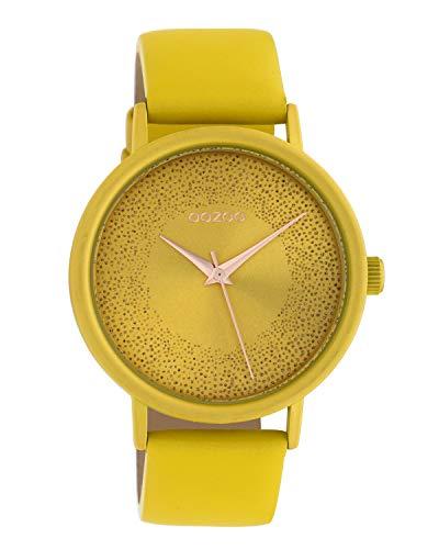 Oozoo Reloj de mujer con efecto brillante y correa de cuero 42 mm amarillo mostaza C10577