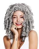 WIG ME UP- 91056-1-ZA68E Peluca Mujer Carnaval Halloween Barroco Rococó Biedermeier Gótico Lolita Cosplay rizos espirales Pelo Largo Gris