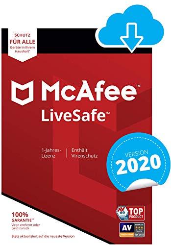 McAfee Live Safe 2020 für eine unbegrenzte Anzahl an Geräten | 1 Jahr | PC/Mac/Smartphone/Tablet [Online Code]