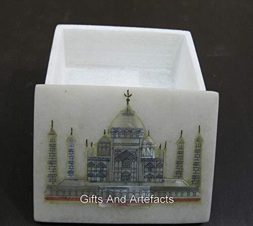 10 x 7 cm rectángulo forma multi uso caja baratija caja de trabajo con Taj Mahal réplica arte