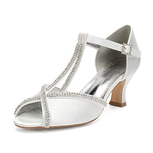 LGYKUMEG Zapatos para Novia Tacon Bajo,Mujer Cintas Encaje Satén Rhinestones Bombea los...