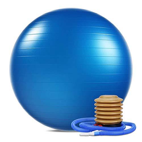 WTSMJD Balón de Gimnasia Anti-pinchazos, balón de Ejercicio (con inflador, Ideal para Yoga y Pilates,Azul,70cm