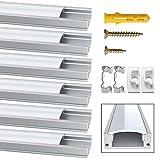 Jirvyuk, canalina per LED, in alluminio, da 6 x 1 m, forma a U, per tubo LED, con copertur...