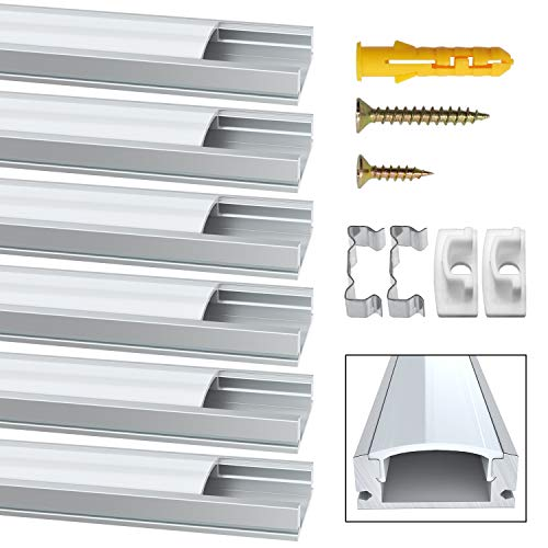 LED Aluminium Profil, Jirvyuk Led Aluminium Leisten 5 Pack 1M/ 3.3ft U-Form Aluminium Extrusion Milchig Deckel Endkappen Metall Befestigungs Clips (Silber-U)