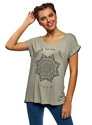 oodji Ultra Mujer Camiseta de Viscosa con Estampado, Verde, ES 34 / XXS