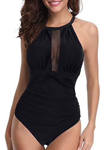 Sixyotie Damen Schlankheits Badeanzug netzartiger Einteiler High Neck One Piece Bademode Strandmode Schwimmanzug (Schwarz01, EU 44/46 (Herstellergröße: 2XL))