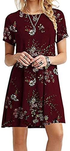 Yidarton Sommerkleid Damen Casual Lose Kurzarm T-Shirt Kleider Elegant Boho Blumen Strand Kleider mit Taschen (Wein1, XL)