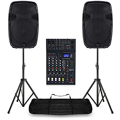 PA Speaker System 6-Ch Bluetooth DJ Mixer 1600W Live Stage Sound with Stands