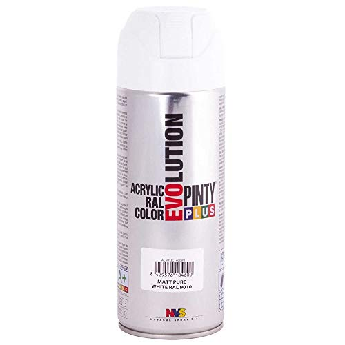 PINTYPLUS EVOLUTION 600 Pintura Spray Acrílica 520cc Matt Pure White, Blanco Mate Ral 9010, Estándar
