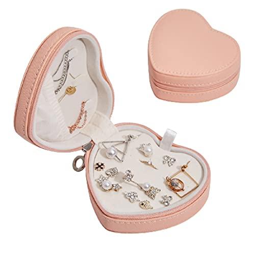 WQXD Caja de joyería Delicada Joyería de Amor portátil para Pendientes Anillos Regalos de cumpleaños Regalos de cumpleaños Mujeres Joyería Organizador (Color : Orange Pink, tamaño : 4.1x3.7x1.8 Inch)