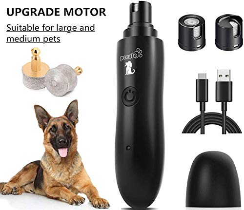 Pecute Large Dog Nail Grinder Rechargeable Electric Dog Nail Trimmer for Paw Grooming Gentle and Painless Nail Clippers for Medium and Large Dogs (2H Quick USB Charge 14H Long Work Time)