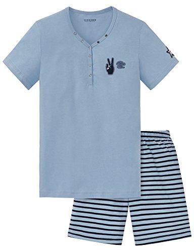Schiesser meisjes tweedelig pyjama pak kort, grijs (grijsblauw 209), 140 (fabrieksmaat XS)