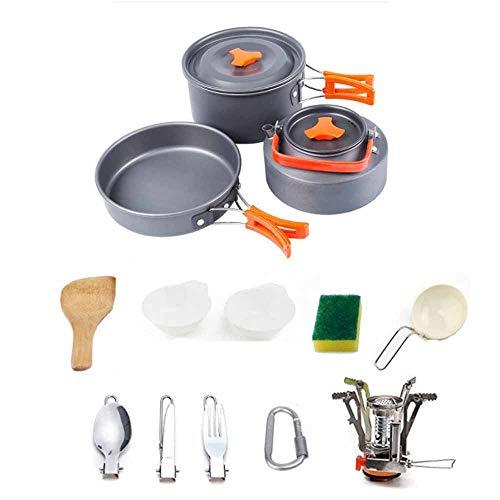 XIAORR-Cookware Camping Kochgeschirr, Aluminium Nonstick und Leichtbau Topfset mit Kettle Outdoor-Camping-Pfannen für 2-3People, beweglichen Kochset für Outdoor Wandern (2-3People)