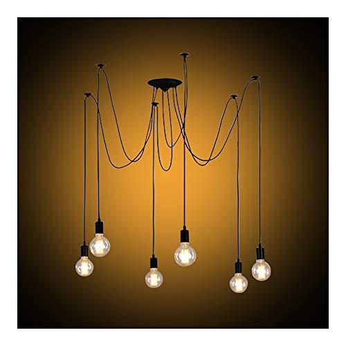 Lustre Araignée Rétro et Suspensions de Plafond, Industriel Abat-jour DIY Ajustable Longueur avec 1.8m Fil E27 pour Salon Salle à Manger Maison (6 Bras Noir)
