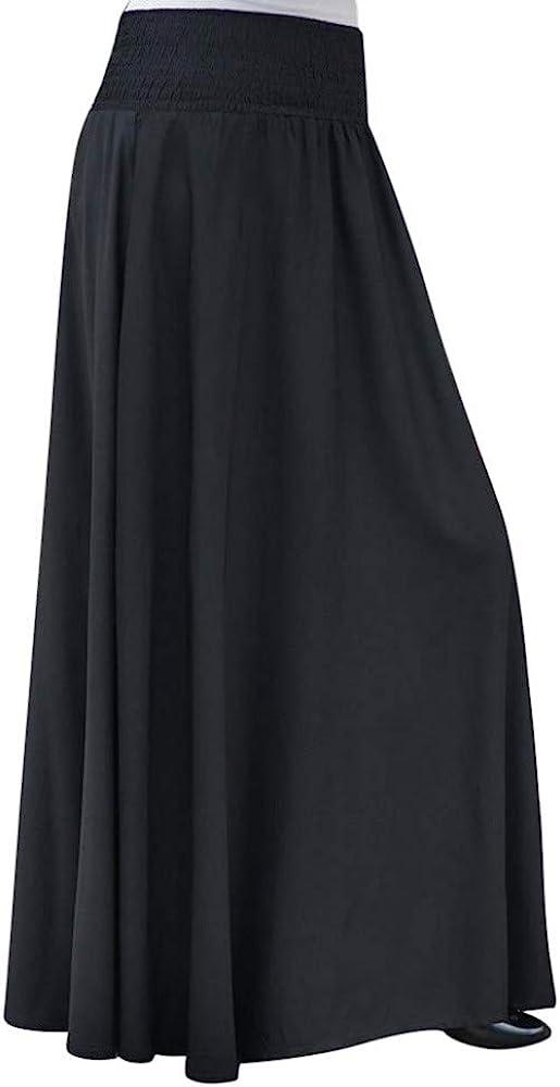 Lovor Women's Maxi Skirt – High Waisted Ruched Fold Over Elastic Waistband Flowy Long Length Skirts