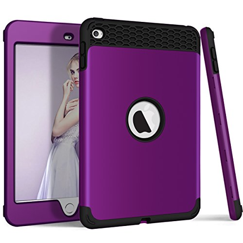 iPad Mini 4 Case, ZERMU 3in1 Honeycomb Heavy Duty Shockproof Hard Plastic Cover+Impact Resistant Silicone Rubber Protective Armor Defender Full Body Protective Case for iPad Mini 4 2015 Model