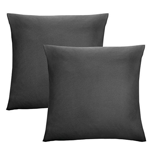 biberna 0077144 Feinjersey Bettwäsche Kopfkissenbezug (Baumwolle) 2x 40x40 cm, schwarz