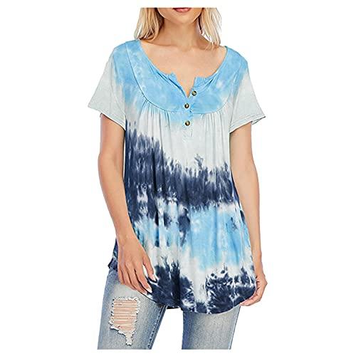 YANFANG Camisa De Manga Corta con Cuello Redondo Y Estampado TeñIdo Anudado Informal para Mujer Botones Blusa Top,Camisetas En V Camisetas Sueltas Verano BáSicas TúNica,Azul,XL