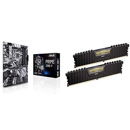 ASUS PRIME Z390-P - carte mère GAMING (Intel Z390 LGA 1151 ATX DDR4) & Corsair Vengeance LPX 16Go (2x8Go) DDR4 3000MHz C15 XMP 2.0 Kit de Mémoire Haute Performance - Noir