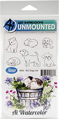 Art Impressions Watercolor Cling Rubber Stamps, Dogs