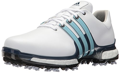 adidas Men's TOUR360 Boost 2.0 Golf Shoe, White/Ice Blue/Mystery Ink, 6.5 UK