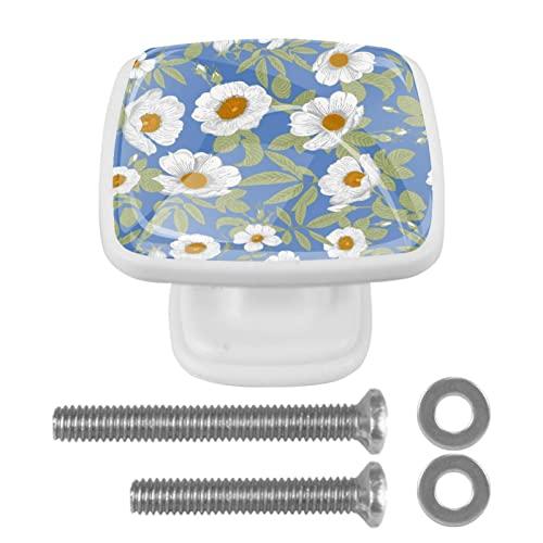 Hermosas flores blancas, pomos de cristal para aparador, cajones de cocina, pomos de cristal, tiradores de cajones de 3 cm para armario (4 unidades)