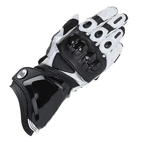 Alpine guantes de cuero de la motocicleta de carreras largos guantes de la motocicleta de cuero original guantes de protección-blanco_L_China