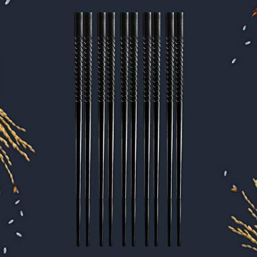 Palillos de fibra de vidrio reutilizables, aptos para lavavajillas, palillos de palillos con punta texturizada de aleación para el hogar, restaurante