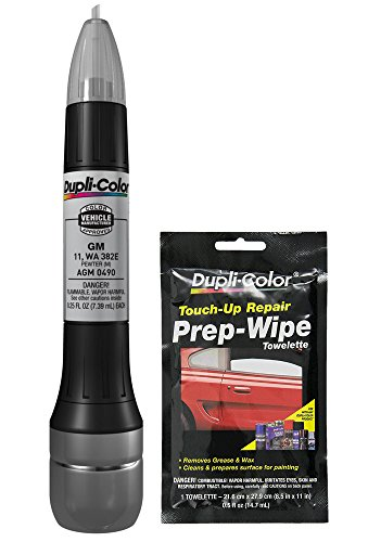 Dupli-Color AGM0490 Metallic Pewter Exact-Match Scratch Fix All-in-1 Touch-Up Paint for GM Vehicles (11, WA 382E) Bundle with Prep Wipe Towelette (2 Items)
