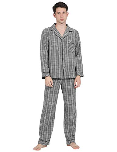 DISHANG Conjunto de Pijama de Cuadros con Botones y Parte Inferior de...