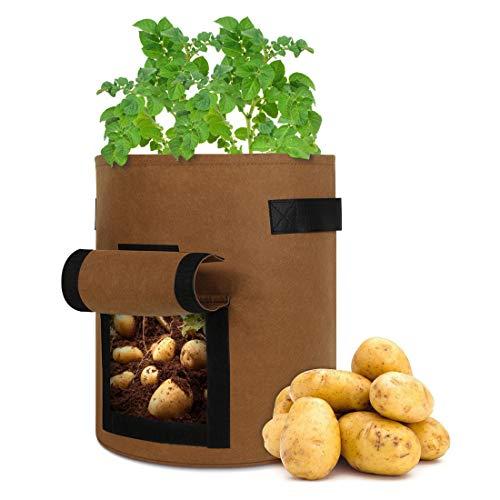 KinCam Pflanzsack,5 Stück 38L/10Gallon Pflanztaschen mit Filzstoff,mit Fenster,Klettverschluss,Griffen,zur Aufzucht von Gemüse für Kartoffeln/Karotten/Tomaten(Gelb)