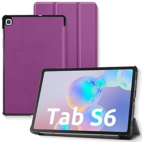 Funda para Samsung Galaxy Tab S6 Lite, carcasa trasera de TPU suave, con soporte para lápiz capacitivo y ranuras para documentos para Samsung Tab S6 Lite 10,4 pulgadas SM-P610/P615 2020 (morada)