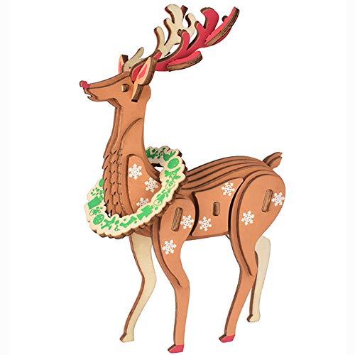YJF Colorido Elk Modelo 3D Rompecabezas de Madera DIY Craft Gift para Adultos y niños