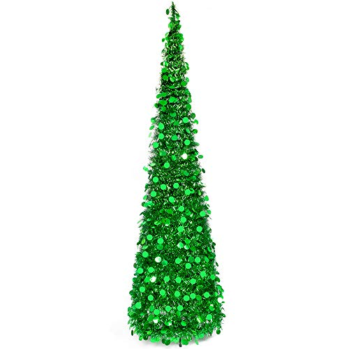 MACTING 6ft Pop up Christmas Tinsel Tree with Stand Easy-Assembly Tinsel Coastal Glittery Christmas Tree for Holiday Xmas Decorations(6FT Green)
