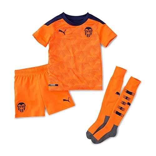 PUMA Valencia CF Segunda Equipación 2020-2021 Niño, Conjunto, Vibrant Orange-Peacoat