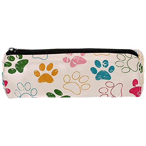 Grunge - Estuche para lápices con huellas de gato o perro, estuche para lápices, organizador de escritorio, bolsa de cosméticos para escuela, oficina