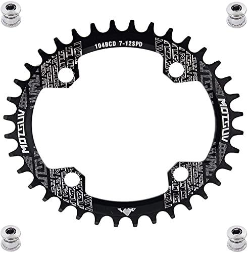 YBEKI 32T 34T 36T 38T 40T 42T 44T 46T 48T 50T 52T Runden Oval Fahrrad Kettenblatt, Schmale Breite Kettenblätter 104 BCD für Rennrad Mountainbike BMX MTB (schwarz Oval, 34T)