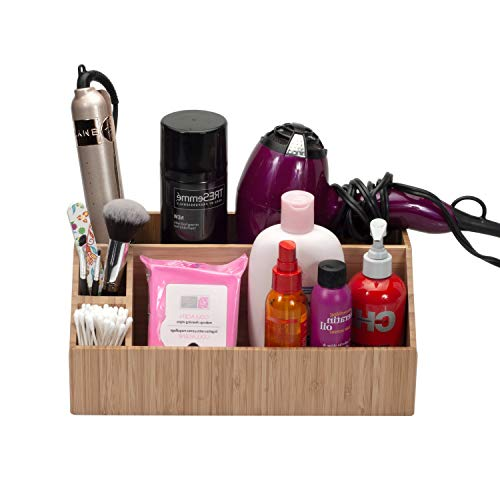 MobileVision Bamboo Bathroom Tray Caddy Organizer for Beauty Products Hair Care Make Up and More