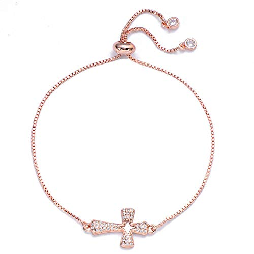 Hand Bangle Bracelets Jewellery For Womens Copper Zircon Cross Bracelet Rose Gold Color Adjustable Chain Charm Bracelets