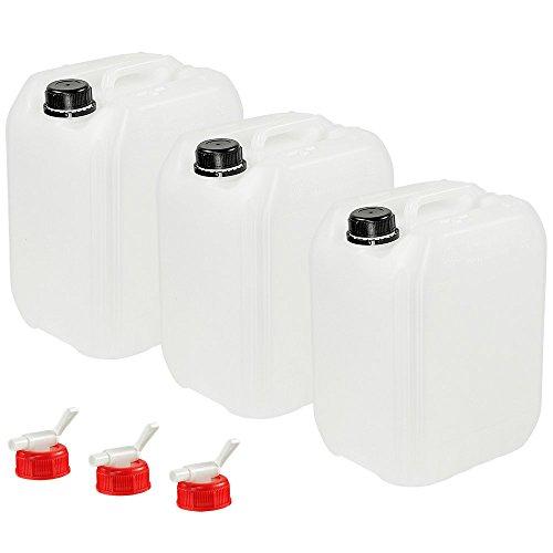 Anaterra Wasserkanister 3er Set, je 10 Liter, Trinkwasserkanister mit Deckel und Auslaufhahn