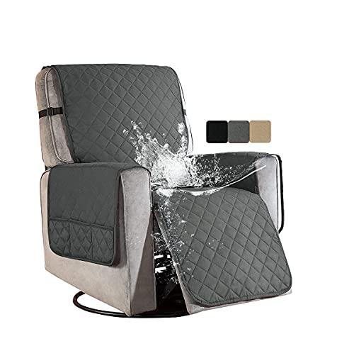 Sesselschoner für Fernsehsessel Relaxsessel 1 Sitzer Grau Wasserdicht Sesselüberwürfe Sesselauflage Relaxsessel mit Taschen Sesselbezug für Ohrensessel Überzug Husse Bezug Sesselhusse