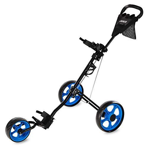 Janus Golf Push Cart, Golf cart for Golf Bag,Golf Pull cart for Golf Clubs, Golf Push carts 3 Wheel Folding, Golf Accessories for Men Women,Golf cart Accessories,Ideal for Golf Clubs
