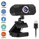 BDLeKing Webcam avec Microphone, Webcam 720p Full HD Stream pour vidéoconférence, Enregistrement et Streaming, Webcam avec Webcam HD à Vue étendue à 90 degrés pour PC