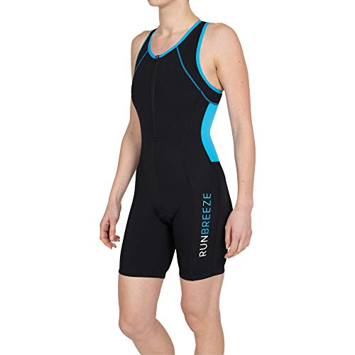 RunBreeze Women's Triathlon Suit | Breathable, Quick-Drying Tri Suit with Dual Rear Pockets (Black/Cyan, Large (US 8-10))