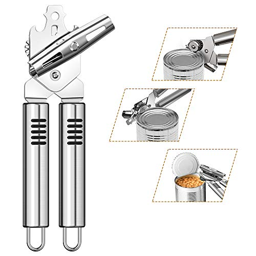 Can Opener, Kitchen Stainless Steel Heavy Duty Can Opener Manual Smooth Edge Durable Food Safe Cut 3-in-1 Tin Beer Jar Bottle Opener Hand Grip for Seniors with Arthritis Hands Friendly