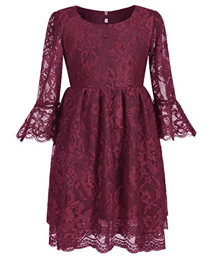Vintage Girls Lace Dresses with Sleeves Kids Party Gowns (Size 6,Wine)