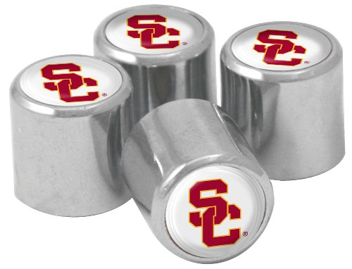 NCAA USC Trojans Metal Tire Valve Stem Caps, 4-Pack